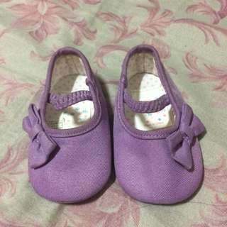 Purple Bow Shoes 0-3mos