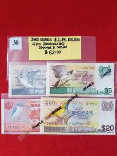 BIRD SERIES 4 PIECES.   $1, $5, $10, & $20.   All UNCIRCULATED, SLEEVED & SEALED.