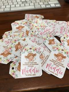 Baptism hang tags for thank you gifts customised birthday party baby shower full month event wedding engagement
