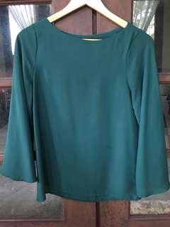 Emerald Green Flared Sleeve Blouse Top