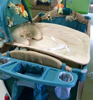 Baby 1st crib/rocker/playpen with diaper table