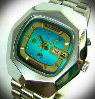 🌟🌟VINTAGE RICOH CRYSTAL OCTA 🌟🌟~ TURQUOISE DIAL With DAYDATE / ORIGINAL RICOH BRACELET / AUTOMATIC 21JEWELS MEN'S WATCH ~ Fully Serviced