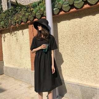 復古木耳邊寬鬆高腰娃娃中長裙假兩件後背收腰繫帶連衣裙(2色)