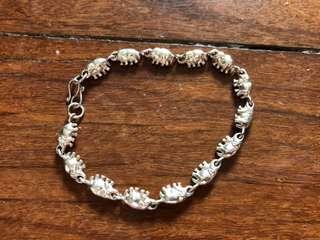 Genuine Thai silver elephant bracelet