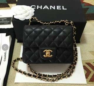出售 正品 Chanel 香奈兒 mini coco 17cm 方胖子 黑色 荔枝皮 牛皮 金鍊