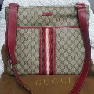 100%real Gucci 紅白間全皮斜咩袋