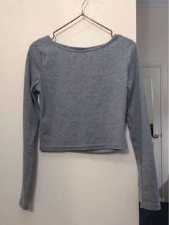MIRROU grey crop long sleeve