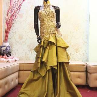Lime Gold ethnic layers evening gown