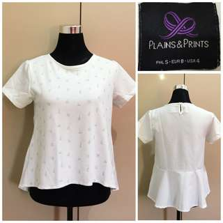 Plains and Prints White Printed Top