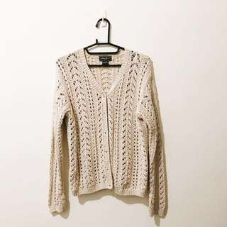 美國古著粗針麻花 編織針織外套 美國帶回 M/L 米白色 #女裝半價