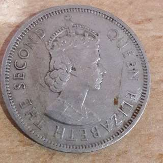 Hong Kong One Dollar Coin 1960 - Queen Elizabeth The Second