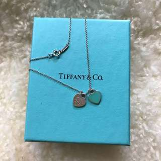 Sale!!! Tiffany & Co Double Heart Mini Blue Enamel