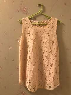 Pink lace sleevless