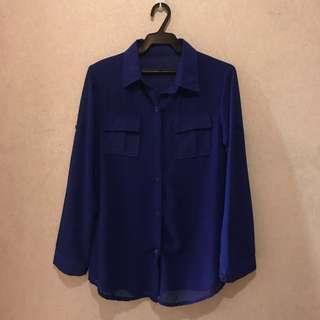 Blue Long Sleeve Top
