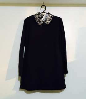 Charity Sale! Authentic Made in Korea Cheetah Printed Collar Velvet Inside Lining Long Sleeve Women's Top Size Medium