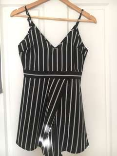 Pinstripe black and white playsuit