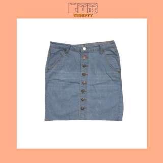 Light blue button down skirt