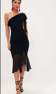 One shoulder ruched mesh dress