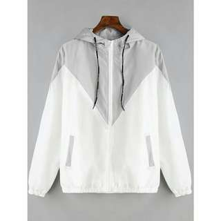 Gray & White Windbreaker Jacket