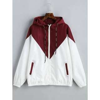 Red and White Windbreaker Jacket