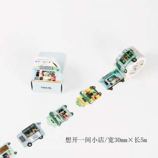 Only 1 Instock! (Mix & Match)* 30mm x 5m Shops Theme Washi Tape
