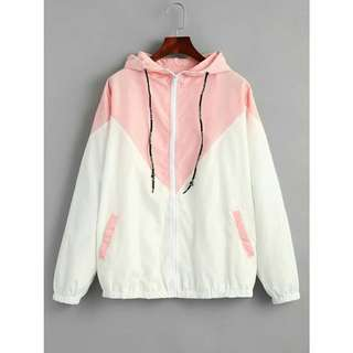 Pink and White Windbreaker Jacket