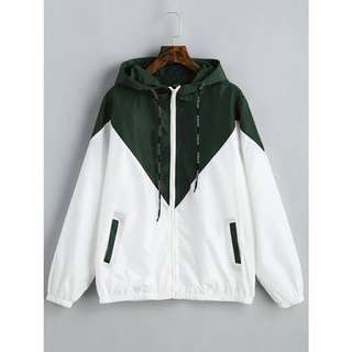 Army Green and White WIndbreaker Jacket