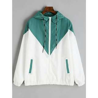 Green and White Windbreaker Jacket