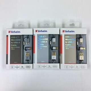 全新行貨 Verbatim Sync & Charge USB-C / MicroUSB to USB-A Cable 120cm USB Type-C 120cm 充電線