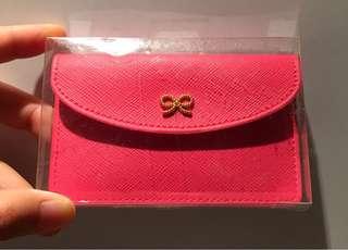 韓國🇰🇷粉紅色卡片套  金色蝴蝶結 Ribbon Card Case in hot pink