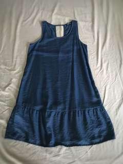 Mango Fluted Hem Dress in Dark Blue