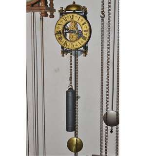 ANTIQUE VINTAGE MECHANICAL WEIGHT DRIVEN PENDULUM SKELETON WALL CLOCK