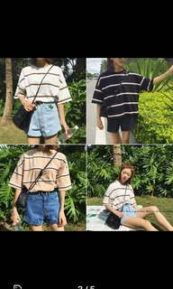 Beige oversize striped t-shirt