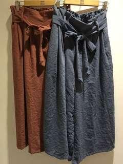 韓國 灰藍色綁帶寬褲