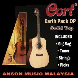 Cort Earth Pack Acoustic Guitar Package, Open Pore