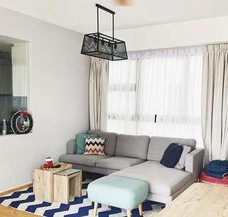 L shape canvas sofa