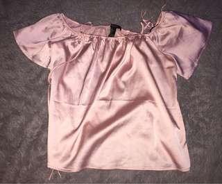 Forever 21 metallic pink off shoulder