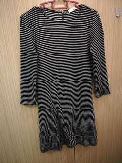 Mango 3/4 Sleeve Striped Dress