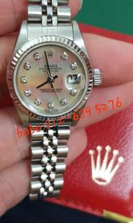 Used (75% good condition) Rolex lady 79174g mother-of-pearl face, 26mm, with original box and cert. F series, year 2005