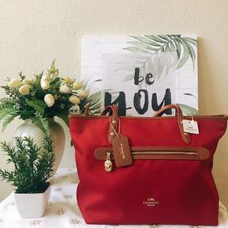 Coach Sawyer Classic Red Canvas Tote