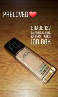 JUAL RUGI!!!! MAYBELLINE FIT ME FOUNDATION SHADE 122