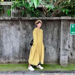 找到了 黃綠色亞麻 洋裝