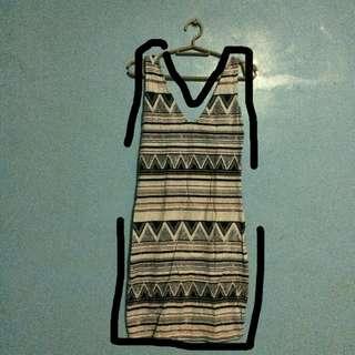 Aztec Sleeveless V-neck Dress