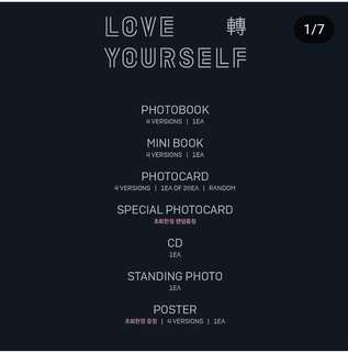 BTS LOVE YOURSELF TEAR ALBUM ONLY NO PHOTOCARD