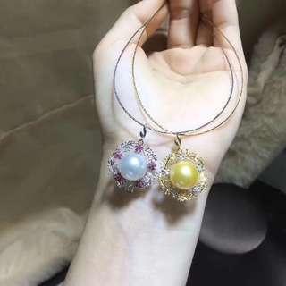 Pearl pendent 18K金碧璽花邊包邊珍珠吊墜