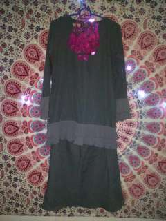 Errida.co Baju Kurung Pleated Grey