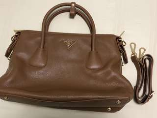 Prada Medium Brown Leather Shoulder Bag