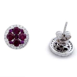 Mother's Day Sale! Natural Rubies + Diamonds On 18K White Gold Earrings