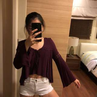 H&M Maroon Bell-Sleeved Blouse