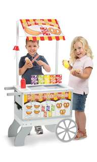(PO) BN Melissa & Doug Wooden Snacks and Sweets Food Cart - 40+ Play Food pcs, Reversible Awning